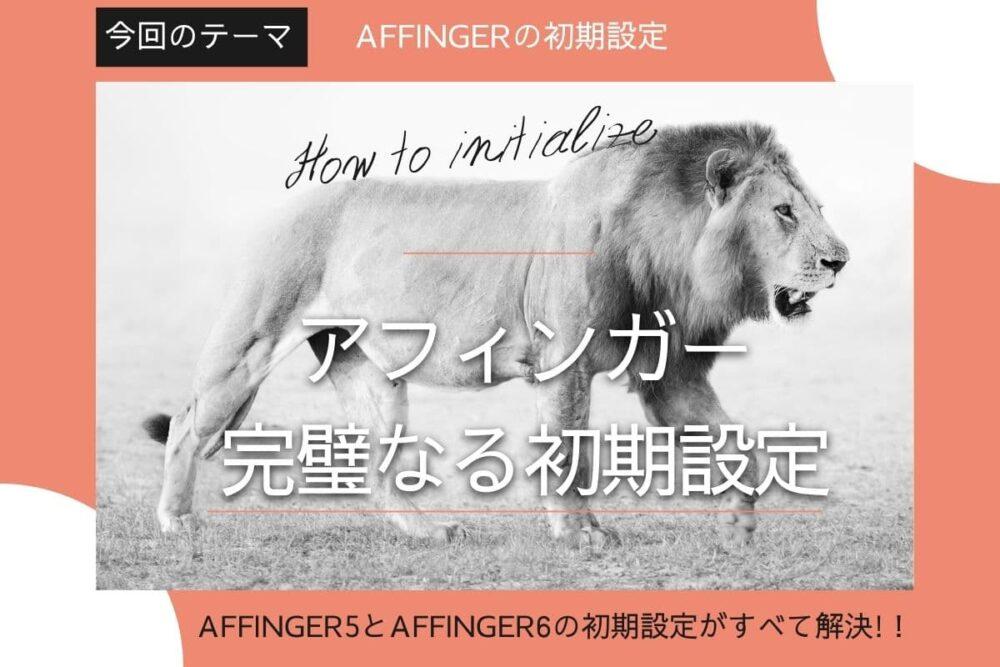 AFFINGER5やAFFINGER6導入後の完璧なる初期設定【アフィンガー初心者必見】